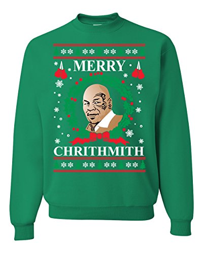 Wild Bobby Merry Chrithmith Mike Tyson Ugly Christmas Sweater Unisex Crewneck Sweatshirt, Kelly, X-Large