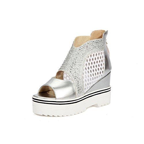 BalaMasa Womens Sandals Studded Huarache Peep-Toe Urethane Sandals ASL04410 Silver