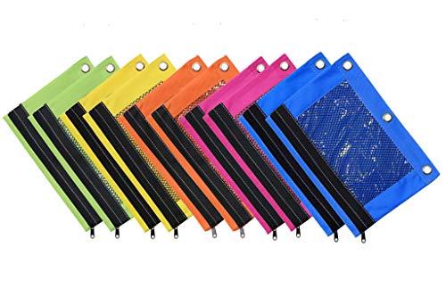 Omura Pencil Pouch, Mesh Windows, Zippered & Standard 3-Ring Binder ULTRA BRITE, Pack of 10