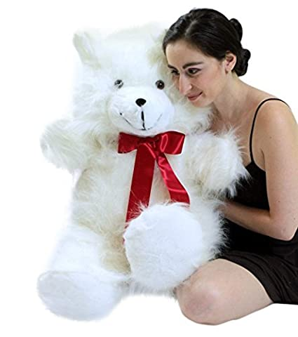f68d7395565 Image Unavailable. Image not available for. Color  Big Plush Valentine s  Day Jumbo 3 Foot Teddy Bear 36 Inch Soft White Teddybear Made in