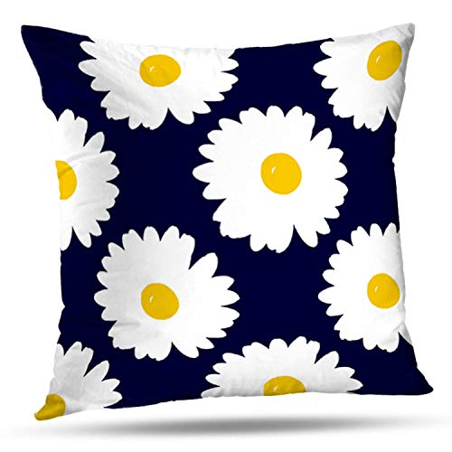 ONELZ Yellow Navy and White Daisy Pattern Square Decorative Throw Pillow Case, Fashion Style Zippered Cushion Pillow Cover (16X16 inch)