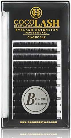COCO Honey Lash Eyelash Extensions, Classic B Curl [0.10mm], Faux Mink Individual Lash Extensions (Length: 8-13mm Mix)