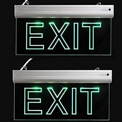 LFI Lights - 2 Pack - Certified - Hardwired Red LED Edge Light Exit Sign - Rotating Panel Battery Backup,Clear Panel?Green?