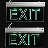 LFI Lights - 2 Pack - Certified - Hardwired Red LED Edge Light Exit Sign - Rotating Panel Battery Backup,Clear Panel(Green)