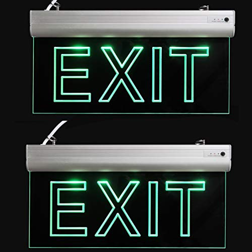 LFI Lights - 2 Pack - Certified - Hardwired Red LED Edge Light Exit Sign - Rotating Panel Battery Backup,Clear Panel(Green) ()