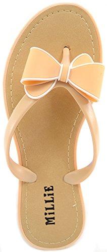 Ladies / Womens Summer / Holiday / Beach Millie Bow Sandal / Shoes / Flip Flops Beige UnnXNb