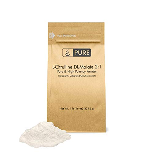 L-Citrulline DL-Malate 2:1 Powder (1 lb) by Pure Organic Ingredients, 100% Pure, Pre & Post Workout Supplement, Athletic Performance Enhancer*, Speed Up Recovery*, Eco-Friendly Packaging (1 lb)