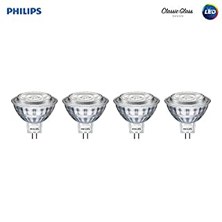 Philips LED 470278 50 Watt Equivalent Classic Glass MR16 Dimmable LED Indoor & Landscape Flood Light Bulb (4 Pack), 4-Pack, Bright White, 4 Count