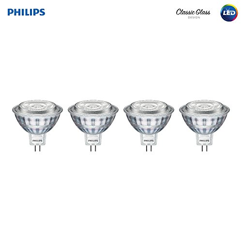 Philips LED 470278 50 Watt Equivalent Classic Glass MR16 Dimmable LED Indoor & Landscape Flood Light Bulb (4 Pack), Bright White, 4 Piece