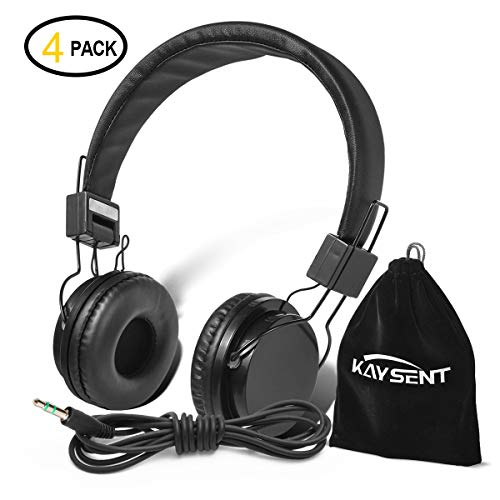 Kaysent Heavy Duty Headphones Set for Students - (KHPB-4B) 4 Packs Classroom Kids' Headphones for School, Library, Computers, Children and Adult(No Microphone)