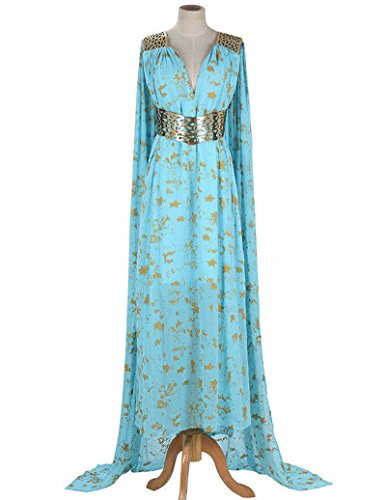 [8050 - Game of Thrones Daenerys Targaryen Cosplay Blue Qarth Party Dress (1) S)] (Daenerys Costumes Game Of Thrones)