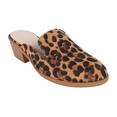 Ermonn Women's Pointed Toe Mules Slip on Loafer Backless Chunky Low Heel Dress Slipper Shoes