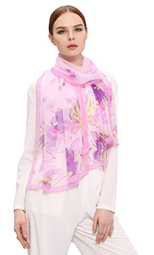 Grace Scarves 100% Silk Scarf, Oblong, Georgette, Floral Waterfall, Pink/Purple