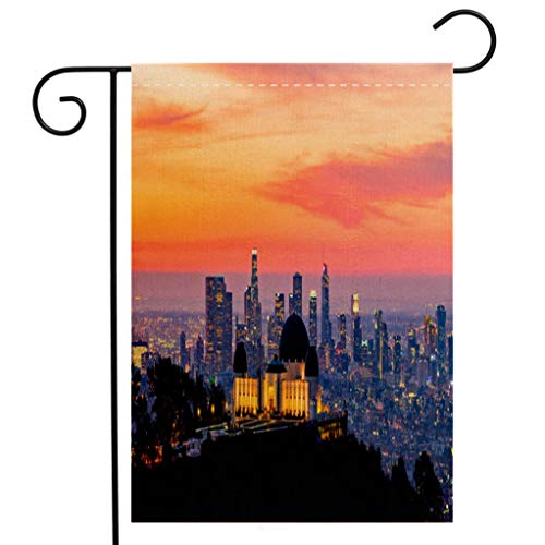 BEIVIVI Custom Double Sided Seasonal Garden Flag Los Angeles Skyline at Dawn Panorama and Griffith Park Observatory in The Foreground Welcome House Flag for Patio Lawn Outdoor Home Decor