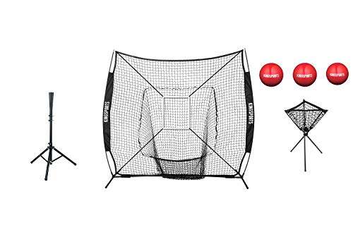 - KingSports Large Mouth 7 x 7 Baseball Net with Strikezone & 3 x Heavy Training Ball, Batting Tee & Ball Caddy | Ultimate Portable Batting Practice Set | Easy Assemble All Terrain Practice Batting Kit