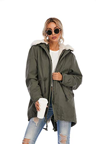 TIENFOOK Womens Parka Jacket Winter Coat with Drawstring Waist Thicken Fur Hood Lined Warm Detachable Design Outwear Jacket (A-Army Green, X-Small)