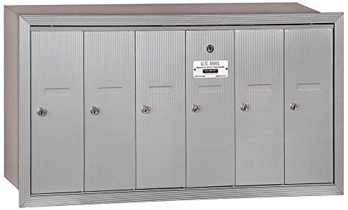 Salsbury Industries 3506ARP Recessed Mounted Vertical Mailbox with Master Commercial Lock, Private Access and 6 Doors, Aluminum (Commercial Doors Access)