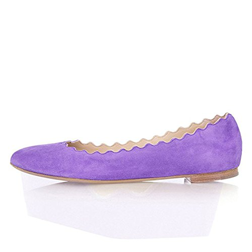 FSJ Women Cute Dress Shoes scalloping Round Toe Suede Ballet Flats For Comfort Size 8 (Lavender Dress Shoes)