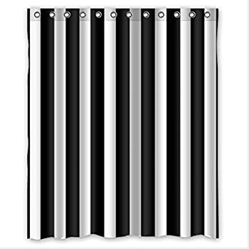 Comfort Home Style Black And White Vertical Stripes Pattern Design Custom Waterproof Fabric Bathroom Shower Curtain 60w X 72h