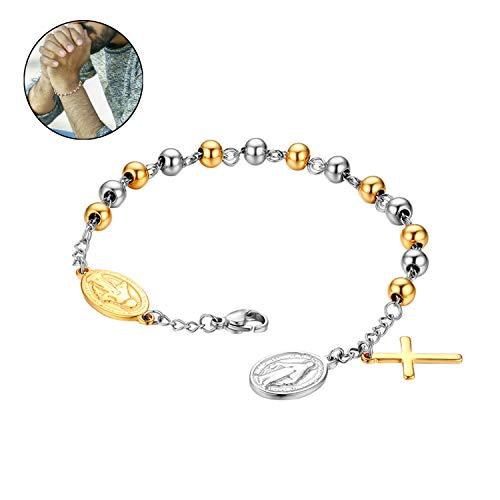 - Flongo Cross Rosary Beads Bracelet, Vintage Stainless Steel Jesus Christ Crucifix Cross Bracelet for Men Women Christmas Wedding