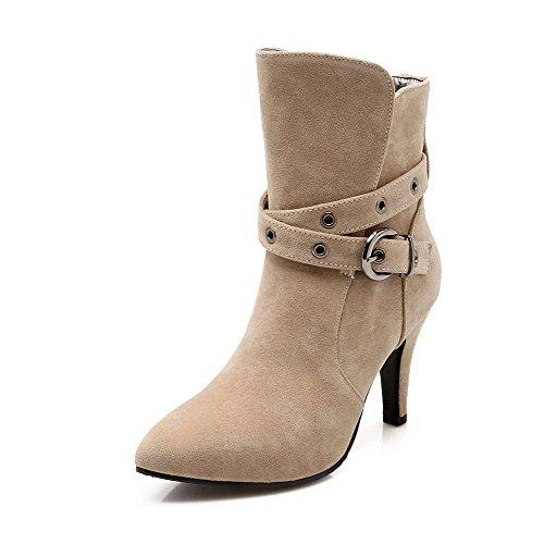 Amoonyfashion Womens Frosted Rits Wees Dichte Teen Spikes Stilettos Solide Laarzen Beige