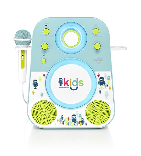 Singing Machine Kids Mood LED Glowing Bluetooth Sing-Along Speaker with Wired Youth Microphone Doubles as a Night Light, Blue/Green, (Sing Along Microphone)