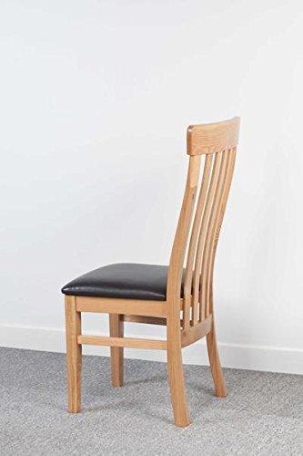 Devon roble macizo curvada silla de comedor con asiento de piel ...