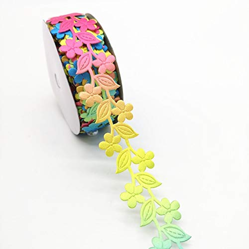 Jammas 5 Yards 38mm Ribbon Wedding Party Decoration Ribbon Flower Cane Embossing Belt Tape Gift Wrapping Hair Bows DIY Christmas Ribbon - (Color: Colorful) (Embossing Ribbon)