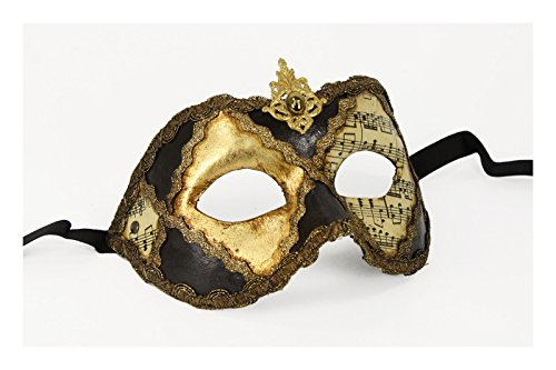(Authentic Italian Made Venetian Mask Sheet Music (Brown/Gold (with Forehead Detail)))