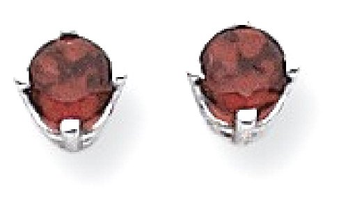 ICE CARATS 14k White Gold 4mm Red Garnet Post Stud Ball Button Earrings Gemstone by ICE CARATS