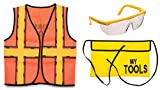 3 Piece Construction Roll Play Costume Set- Vest, Tool Belt, and Glasses