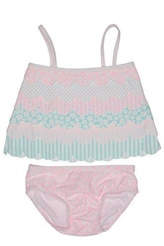 Kate Mack Baby Girl's Infant Petal Parfait Swim Tankini, Multicolored - 09M - Mack Kate Nylon Tankini