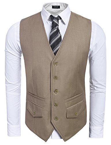 [Coofandy Men's Formal Fashion Dress Vest Casual Skinny Business Suit Vest Waistcoat] (Big And Tall Formal Wear)