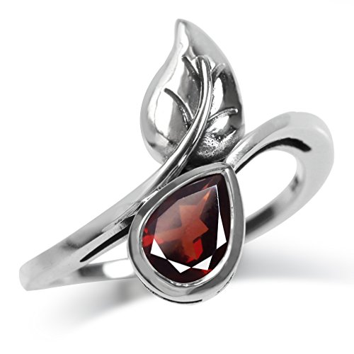 (1ct. Natural Garnet 925 Sterling Silver Bypass Leaf Solitaire Ring Size 7.5)