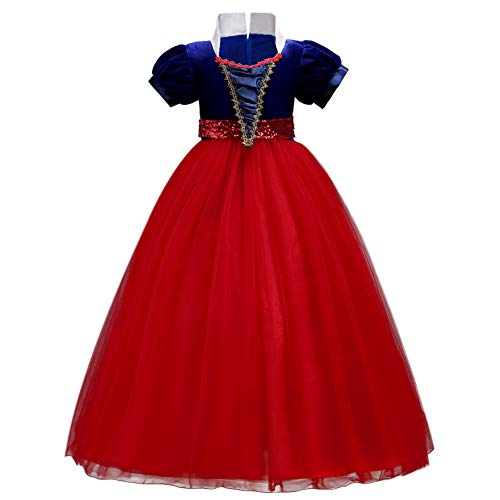 Girls Princess Snow White Costume Dress Velvet Sequins Halloween Party Fancy Dressing up Cosplay Cartoon Queen Transforming Dress Pageant Long Dresses Gown for Kids Birthday Red 12-13Y ()
