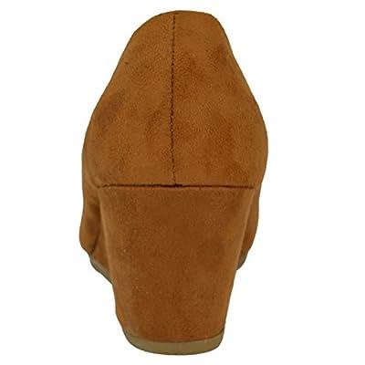 HapHop Women's Classic Almond Toe Mid Heel Wedge Pump Slip On Shoes | Pumps