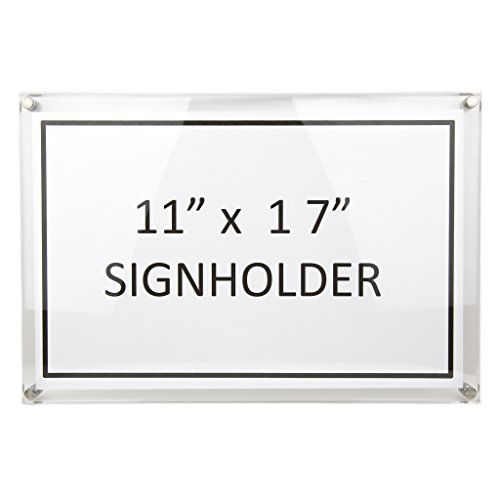 Large Document Frame Acrylic Sign Holder Wall Mount Premium Quality w/ 4 Silver Bolts - A3 Frame Fits 11x17