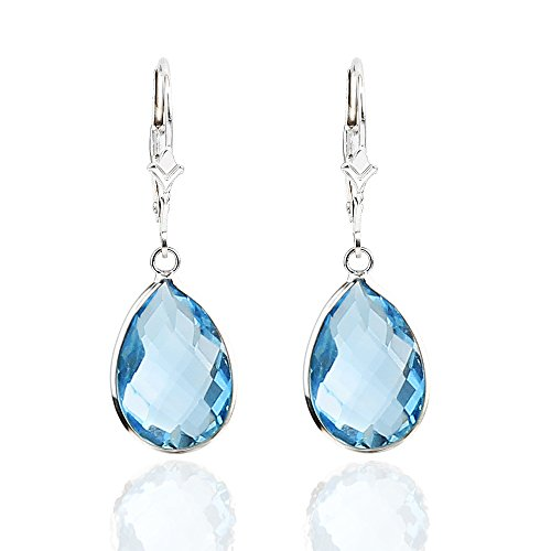 14K White Gold Handmade Gemstone Earrings With Dangling Pear Shape Blue Topaz by amazinite