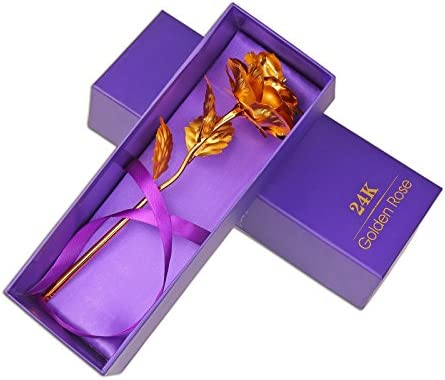 24K Gold Plated Rose Flower Decoration Mother/'s Day Girlfriend Romantic Gift