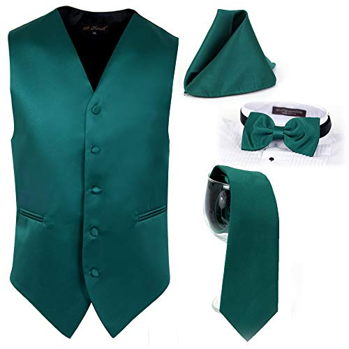 St Patrick Solid Fromal Mens Vest, Prom Vest, Wedding Vest and Dress Casual Events. 4pcs Mens Vest Set. (Emerald Green, Medium)