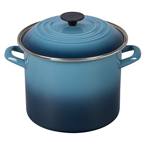 Le Creuset Enamel-on-Steel 8-Quart Covered Stockpot, Marine