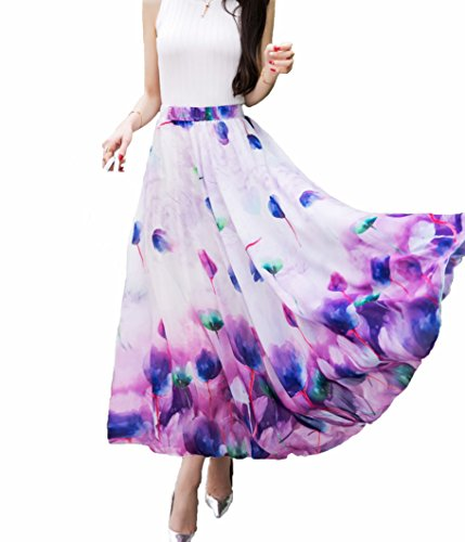 Afibi Women Full/Ankle Length Blending Maxi Chiffon Long Skirt Beach Skirt (Medium, Design Q)