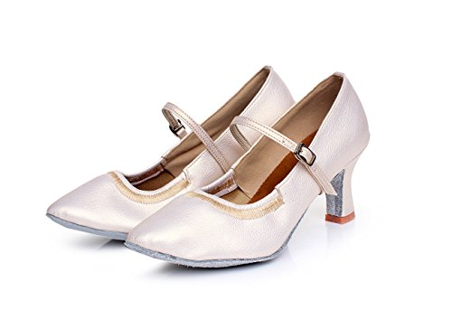 square dance height women's ShangYi heeled 7cm high Pearl shoes modern White adult bottom ballroom Elasticated shoes with women's dance dance soft shoes waltz YYaZqH