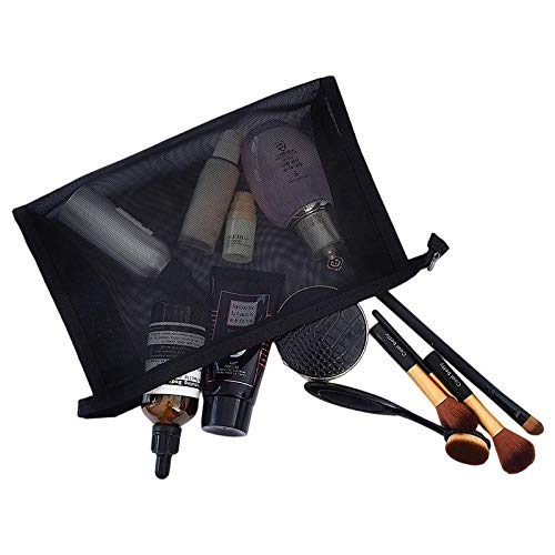 5bcdd0c16d43 Mesh Makeup Bag See Through Zipper Pouch Travel Cosmetic and Toiletries  Organizer Bags for Women Large & Medium (Black)