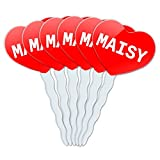 Red Heart Love Set of 6 Cupcake Picks Toppers Decoration Names Female Mab-Maj - Maisy