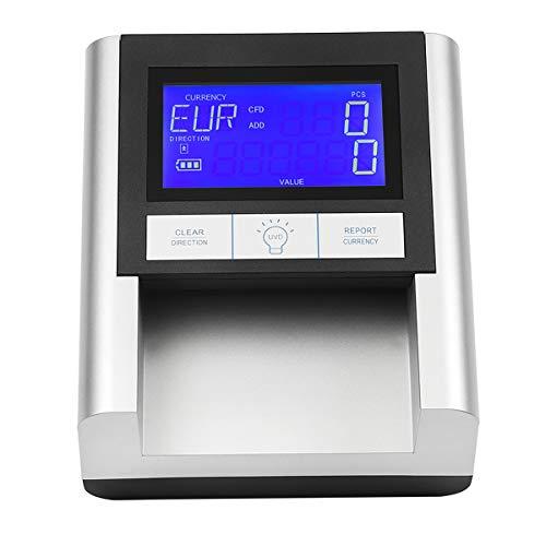 Counterfeit Money Detector EC500 Professional Multi Bill Currency Detector Money Detector for USD+EUR+GBP Portable UV Detection Financial Equipment Detector Counterfeit Money ECB Tested (Sliver)