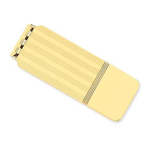 14k Yellow Gold Money Clip with Stripe Detail by CoutureJewelers