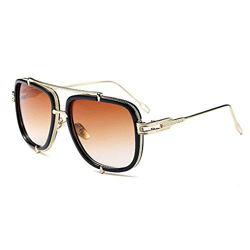 protección de de gran libre para conducir sol forma al cuadrada vacaciones en UV tamaño verano para de de Peggy playa la sol aire Gafas con de Marrón Gris Color metálicas mujer gafas Exquisitas Gu qSZtZU