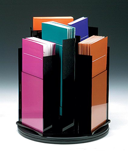 (Countertop Literature Stand with Rotating Design for 4x9 Brochures, 6 Tiered Pockets - Black Acrylic with Clear Front)
