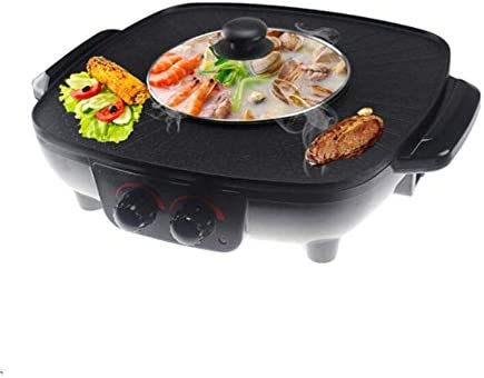 BBQ Hot Pot, Control Doble a la Parrilla One-Pot Cocina eléctrica ...
